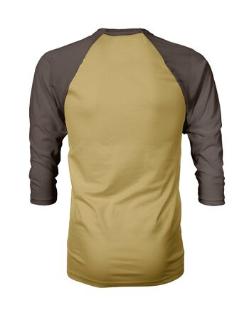 Showcase your own designs like a graphic design pro, by adding your beauty design to this Back View Three Quarter Sleeves Baseball Tshirt Mock Up In Misted Yellow Color templates.