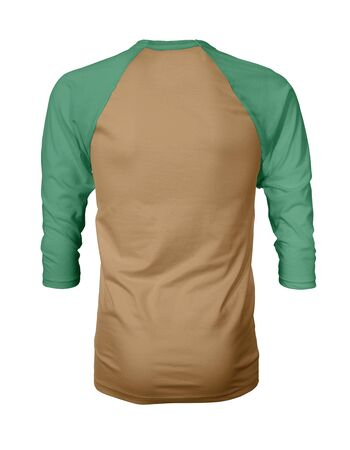 Showcase your own designs like a graphic design pro, by adding your beauty design to this Back View Three Quarter Sleeves Baseball Tshirt Mock Up In Oak Buff Color templates.