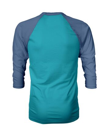 Showcase your own designs like a graphic design pro, by adding your beauty design to this Back View Three Quarter Sleeves Baseball Tshirt Mock Up In Scuba Blue Color templates.
