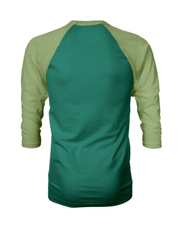 Showcase your own designs like a graphic design pro, by adding your beauty design to this Back View Three Quarter Sleeves Baseball Tshirt Mock Up In Lush Meadow Color templates.