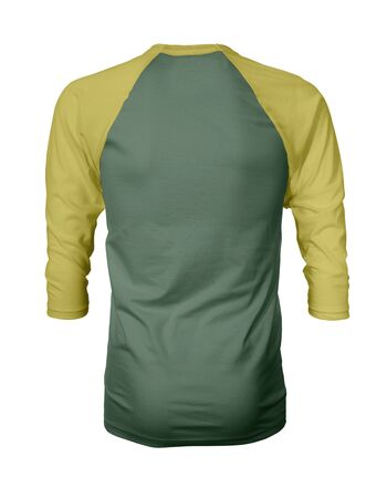 Showcase your own designs like a graphic design pro, by adding your beauty design to this Back View Three Quarter Sleeves Baseball Tshirt Mock Up In Hybrid Comfrey Color templates.