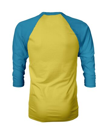Showcase your own designs like a graphic design pro, by adding your beauty design to this Back View Three Quarter Sleeves Baseball Tshirt Mock Up In Butter Cup Color templates.