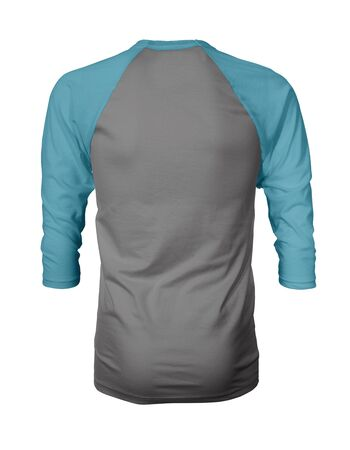 Showcase your own designs like a graphic design pro, by adding your beauty design to this Back View Three Quarter Sleeves Baseball Tshirt Mock Up In Frost Gray Color templates.