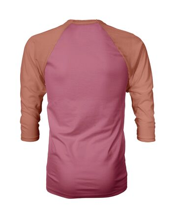 Showcase your own designs like a graphic design pro, by adding your beauty design to this Back View Three Quarter Sleeves Baseball Tshirt Mock Up In Fruit Dove Color templates.
