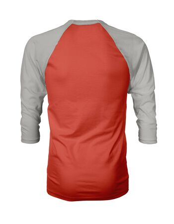 Showcase your own designs like a graphic design pro, by adding your beauty design to this Back View Three Quarter Sleeves Baseball Tshirt Mock Up In Cherry Tomato Color templates.