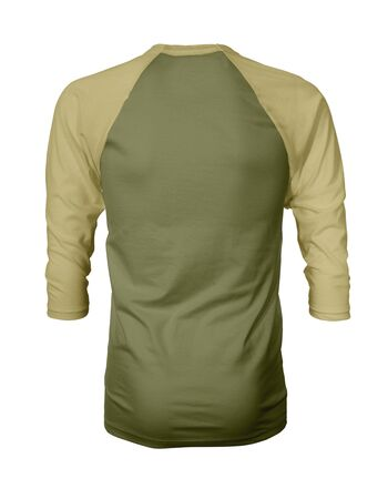 Showcase your own designs like a graphic design pro, by adding your beauty design to this Back View Three Quarter Sleeves Baseball Tshirt Mock Up In Gold Guacamole Color templates.