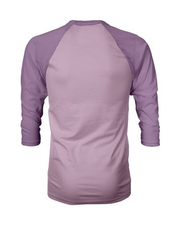 Showcase your own designs like a graphic design pro, by adding your beauty design to this Back View Three Quarter Sleeves Baseball Tshirt Mock Up In Pink Lavender Color templates. Stockfoto