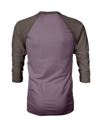 Showcase your own designs like a graphic design pro, by adding your beauty design to this Back View Three Quarter Sleeves Baseball Tshirt Mock Up In Grapeade Purple Color templates.