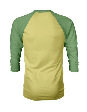 Showcase your own designs like a graphic design pro, by adding your beauty design to this Back View Three Quarter Sleeves Baseball Tshirt Mock Up In Lemon Verbena Color templates. Stockfoto