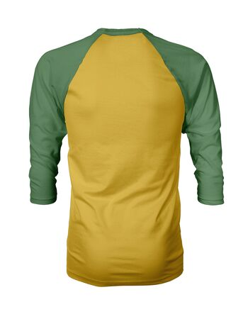 Showcase your own designs like a graphic design pro, by adding your beauty design to this Back View Three Quarter Sleeves Baseball Tshirt Mock Up In Freesia Yellow Color templates. Stockfoto