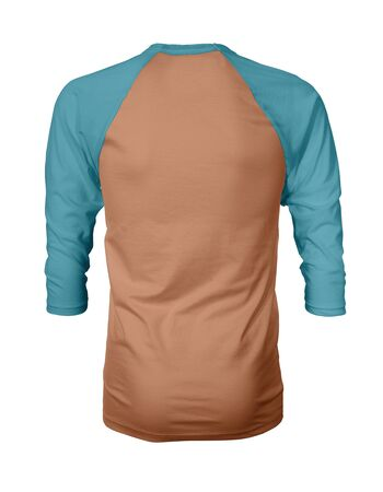 Showcase your own designs like a graphic design pro, by adding your beauty design to this Back View Three Quarter Sleeves Baseball Tshirt Mock Up In Copper Tan Color templates.