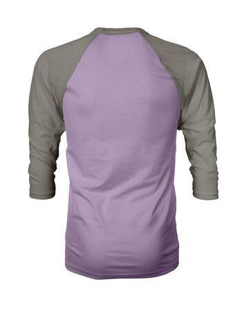 Showcase your own designs like a graphic design pro, by adding your beauty design to this Back View Three Quarter Sleeves Baseball Tshirt Mock Up In Crocus Petal Color templates. Stockfoto