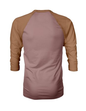 Showcase your own designs like a graphic design pro, by adding your beauty design to this Back View Three Quarter Sleeves Baseball Tshirt Mock Up In Ash Rose Color templates.