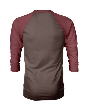 Showcase your own designs like a graphic design pro, by adding your beauty design to this Back View Three Quarter Sleeves Baseball Tshirt Mock Up In Rocky Road Color templates. Stockfoto