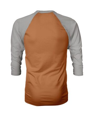 Showcase your own designs like a graphic design pro, by adding your beauty design to this Back View Three Quarter Sleeves Baseball Tshirt Mock Up In Autumn Maple Color templates.