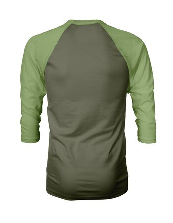 Showcase your own designs like a graphic design pro, by adding your beauty design to this Back View Three Quarter Sleeves Baseball Tshirt Mock Up In Terrarium Moss Color templates.