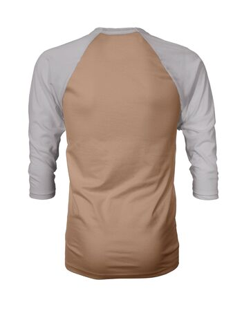 Showcase your own designs like a graphic design pro, by adding your beauty design to this Back View Three Quarter Sleeves Baseball Tshirt Mock Up In Toast Brown Color templates.