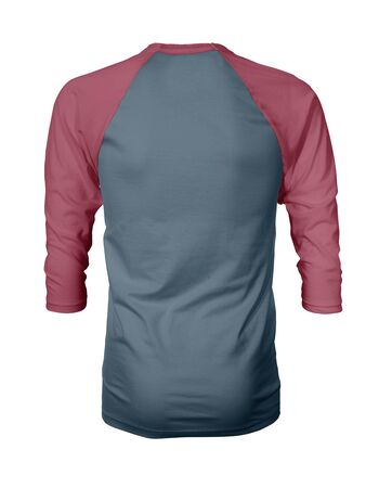 Showcase your own designs like a graphic design pro, by adding your beauty design to this Back View Three Quarter Sleeves Baseball Tshirt Mock Up In Blue Stone Color templates.