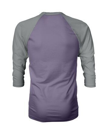 Showcase your own designs like a graphic design pro, by adding your beauty design to this Back View Three Quarter Sleeves Baseball Tshirt Mock Up In Purple Haze Color templates.