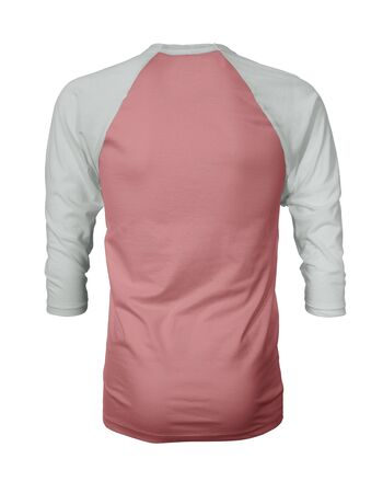 Showcase your own designs like a graphic design pro, by adding your beauty design to this Back View Three Quarter Sleeves Baseball Tshirt Mock Up In Strawberry Ice Color templates.