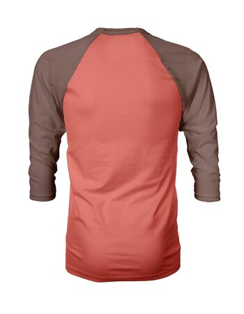 Showcase your own designs like a graphic design pro, by adding your beauty design to this Back View Three Quarter Sleeves Baseball Tshirt Mock Up In Living Coral Color templates.
