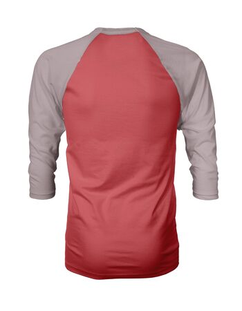 Showcase your own designs like a graphic design pro, by adding your beauty design to this Back View Three Quarter Sleeves Baseball Tshirt Mock Up In Red Cayenne Color templates.