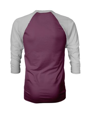 Showcase your own designs like a graphic design pro, by adding your beauty design to this Back View Three Quarter Sleeves Baseball Tshirt Mock Up In Magenta Purple Color templates.