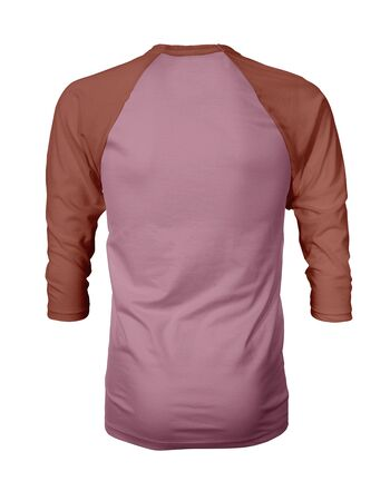 Showcase your own designs like a graphic design pro, by adding your beauty design to this Back View Three Quarter Sleeves Baseball Tshirt Mock Up In Cashmere Rose Color templates.