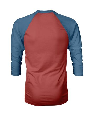 Showcase your own designs like a graphic design pro, by adding your beauty design to this Back View Three Quarter Sleeves Baseball Tshirt Mock Up In Valiant Poppy Color templates.