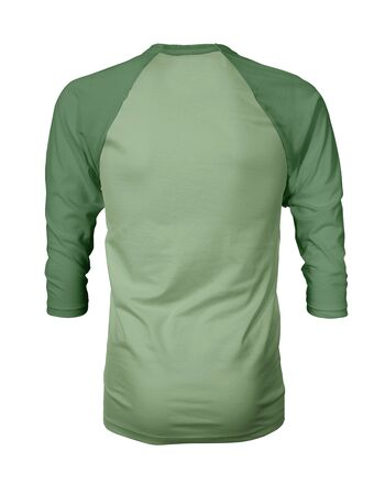 Showcase your own designs like a graphic design pro, by adding your beauty design to this Back View Three Quarter Sleeves Baseball Tshirt Mock Up In Nile Green Color templates. Stockfoto