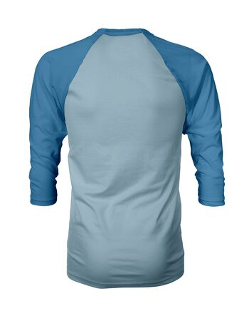 Showcase your own designs like a graphic design pro, by adding your beauty design to this Back View Three Quarter Sleeves Baseball Tshirt Mock Up In Aqua Marine Color templates.