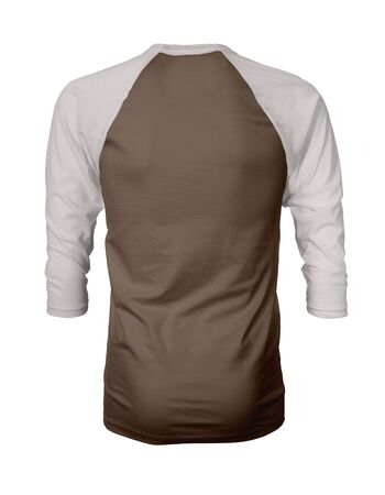 Showcase your own designs like a graphic design pro, by adding your beauty design to this Back View Three Quarter Sleeves Baseball Tshirt Mock Up In Royal Brown Color templates.