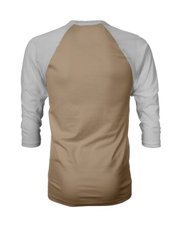Showcase your own designs like a graphic design pro, by adding your beauty design to this Back View Three Quarter Sleeves Baseball Tshirt Mock Up In Iced Coffee Color templates. Stockfoto