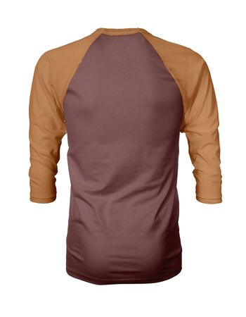 Showcase your own designs like a graphic design pro, by adding your beauty design to this Back View Three Quarter Sleeves Baseball Tshirt Mock Up In Spiced Apple Color templates. Stockfoto