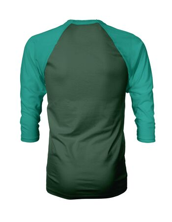 Showcase your own designs like a graphic design pro, by adding your beauty design to this Back View Three Quarter Sleeves Baseball Tshirt Mock Up In Green Eden Color templates.