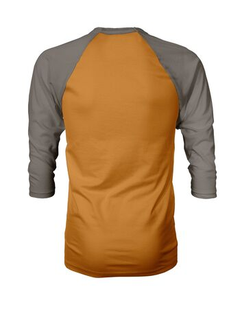 Showcase your own designs like a graphic design pro, by adding your beauty design to this Back View Three Quarter Sleeves Baseball Tshirt Mock Up In Light Cheddar Color templates.