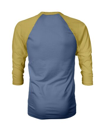 Showcase your own designs like a graphic design pro, by adding your beauty design to this Back View Three Quarter Sleeves Baseball Tshirt Mock Up In River Side Color templates. Stockfoto