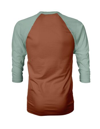 Showcase your own designs like a graphic design pro, by adding your beauty design to this Back View Three Quarter Sleeves Baseball Tshirt Mock Up In Pottery Clay Color templates. Stockfoto