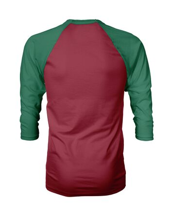 Showcase your own designs like a graphic design pro, by adding your beauty design to this Back View Three Quarter Sleeves Baseball Tshirt Mock Up In Chili Pepper Color templates. Stockfoto
