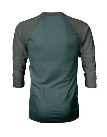 Showcase your own designs like a graphic design pro, by adding your beauty design to this Back View Three Quarter Sleeves Baseball Tshirt Mock Up In Forest Biome Color templates.