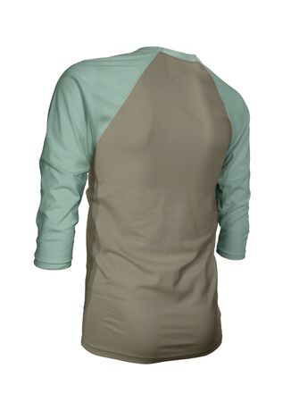 Showcase your brand logo on this Angled Back Three Quarter Sleeves Baseball Tshirt Mock Up In Martini Olive Color. For your websites and printed marketing materials