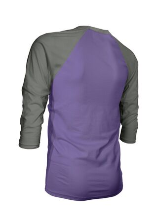 Showcase your brand logo on this Angled Back Three Quarter Sleeves Baseball Tshirt Mock Up In Ultra Violet Color. For your websites and printed marketing materials
