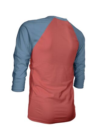 Showcase your brand logo on this Angled Back Three Quarter Sleeves Baseball Tshirt Mock Up In Valiant Poppy Color. For your websites and printed marketing materials