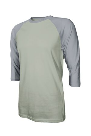 Showcase your own designs logo on this Angled Front Three Quarter Sleeves Baseball Tshirt Mock Up In Desert Sage Color. Promote your clothing across with this photorealistic Mock up Фото со стока