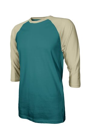 Showcase your own designs logo on this Angled Front Three Quarter Sleeves Baseball Tshirt Mock Up In Shaded Spruce Color. Promote your clothing across with this photorealistic Mock up