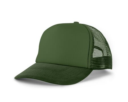 Side View Realistic Cap Mock Up In Green Kale Color is a high resolution hat mockup to help you present your designs or brand logo beautifully.