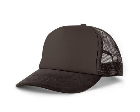 Zijaanzicht Realistische Cap Mock Up In Rocky Granite Color is een hoedenmodel met hoge resolutie om u te helpen uw ontwerpen of merklogo prachtig te presenteren. Stockfoto