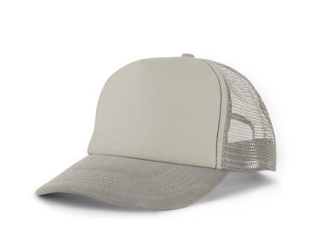 Zijaanzicht Realistische Cap Mock Up In White Tofu Color is een hoedenmodel met hoge resolutie om u te helpen uw ontwerpen of merklogo prachtig te presenteren. Stockfoto