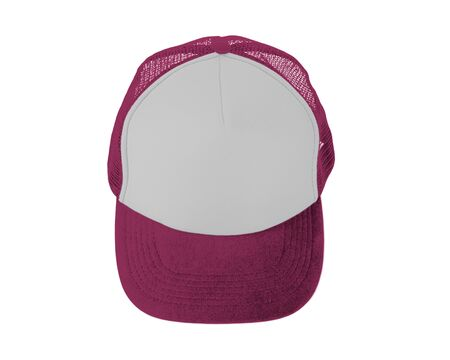 Make your design work becomes more practical with this Front View Realistic Cap Mock Up In Pink Peacock Color Stock Photo