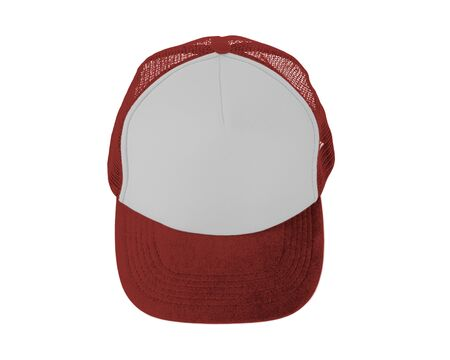 Make your design work becomes more practical with this Front View Realistic Cap Mock Up In Valiant Poppy Color Imagens